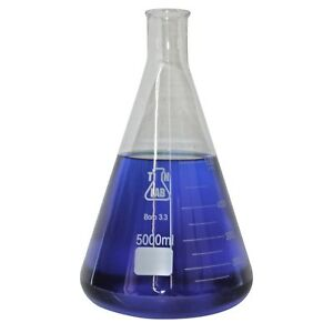 Tn Lab Supply 5000 Ml Glass Conical Flasks case Of 4 Ships Free From Usa