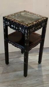 Antique Chinese Dream Stone And Hardwood Stand Table