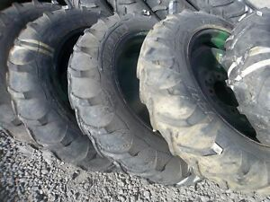 Two Used 750x24 750 24 Four Ply R1 Titan Tractor Tires With Used 8 Hole Wheels
