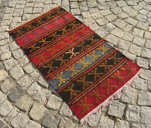 Vintage Old Anatolian Nomads Embroidered Kilim Rug 24 X 42 5 Inches