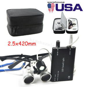 2 5x Dental Dentist Surgical Medical Loupes 420mm Optical Head Light Cloth Case