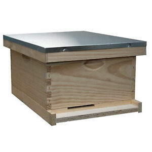 Complete Bee Keeping Hive Kit Honey Assembled Box Metal Roof Back Yard 10 Frame