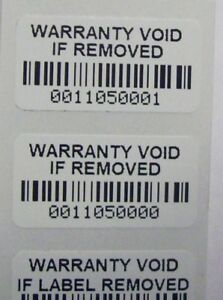 500 Destructible Vinyl Warranty Void Barcode Security Label Sticker Seals
