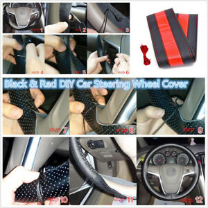 38cm Diy Hand Sewing Black And Red Car Steering Wheel Cover With Needle
