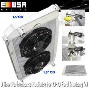 3 Row Aluminum Performance Radiator 12 Fans For 71 73 Ford Mustang V8 Mt Only