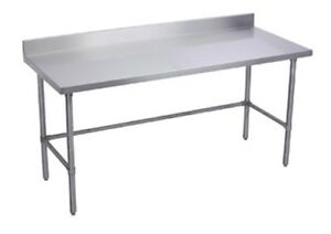 24 X 24 Stainless Steel Work Table W Galvanized Cross Bar 5 Backsplash Nsf