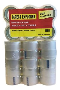 36 Rolls Clear Packing Packaging Carton Sealing Tape 2 0 Mil Thick 2 X 55 Yards