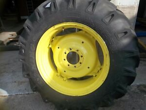 Two 13 6x28 13 6 28 R1 12 Ply Tractor Tires On 4 Double Loop Wheels W centers