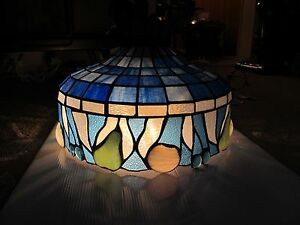 Hanging Blue Vintage Stained Glass Lamp Shades 22x12 50 S Exc Cond Lighting