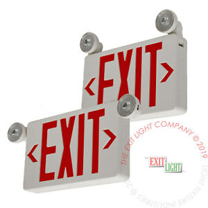 2pk Led Exit Sign Emergency Light Red Compact Combo Fire Safety Ul924 Combocrx2