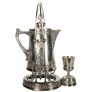 Antique Pairpoint Embossed Silver Plate Tilting Beverage Pitcher With Goblet