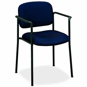 Navy Blue Fabric Arm Chair Guest Reception Seat Office Stackable Furniture Poly