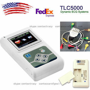 Contec Tlc5000 Hand held 12 Channels Ecg ekg Holter Monitoring Recorder us Stock