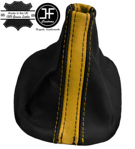 Yellow Black Real Leather Fits Ford Mustang 2005 2010 Shift Boot Cover