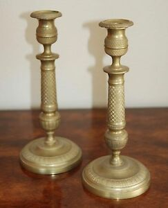 19th Century French Charles X Gilt Bronze Brass Pair Of Candlesticks Empire