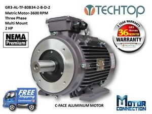 2 Hp Electric Motor Metric 3600 Rpm 3 phase C face Aluminum