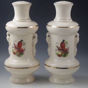 Antique England Peacocks And Pheasants Ceramic Set Of 2 Lamps Lamp Bases 10