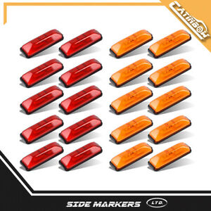 20pc 4 Amber red Led Clearance Side Marker Light W Base Dot Mount Trailer Rv