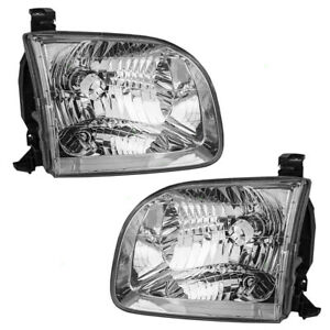 New Pair Set Headlight Headlamp Lens Assembly For Toyota Sequoia Tundra Truck