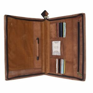 Leather Handmade Business Portfolio Professional Organizer Zippered Closure Gift