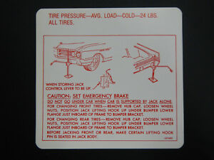 1965 Buick Wildcat Electra Lesabre Trunk Bumper Jack Instructions Decal 65 New