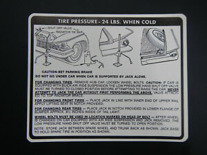 1959 Buick Invicta Electra Lesabre Trunk Bumper Jack Instructions Decal 59 New