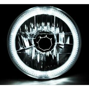 7 Halogen H4 Headlight Headlamp White Led Halo Angel Eyes Light Bulb 12 Volt
