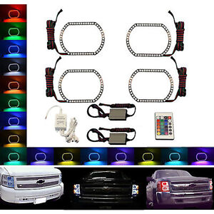 07 14 Chevy Silverado Multi Color Changing Shift Led Rgb Headlight Halo Ring Set