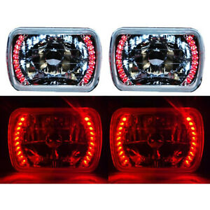 7x6 Red Led Halo Halogen Crystal Clear Headlights Angel Eye H4 Light Bulbs Pair