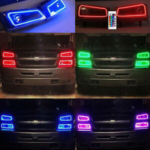03 06 Chevy Silverado Multi Color Changing Shift Led Rgb Headlight Halo Ring Set