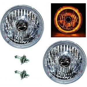 7 Halogen H4 Headlight Headlamp Amber Led Halo Angel Eyes Light Bulbs 12 Volt