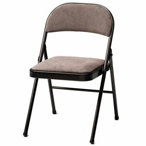 Metal Folding Chair 4 Pack Fabric Padded Seat Steel Frame Back Rest Dining New
