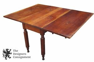 Antique Primitive Distressed Cherry Drop Leaf Country Table Side End Accent Work