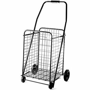 Folding Shopping Utility Cart Portable Mobile Rolling Grocery Bag Basket Black