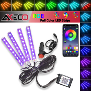 4x 9 Led Rgb Car Interior Atmosphere Light Strip Phone Bluetooth App Control
