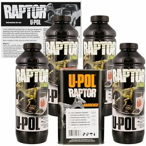 U Pol 0820 Raptor Black Truck Bed Liner Texture Coating 4 Liters Upol