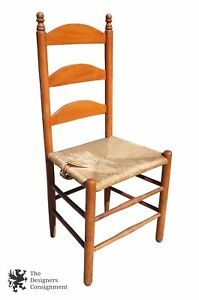 Antique Ladder Back Shaker Style Side Chair Woven Rush Seat Spindle Leg Finials