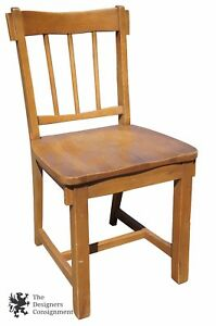 Vintage Oak School Teachers Desk Chair Seat Occasional Side Slat Back