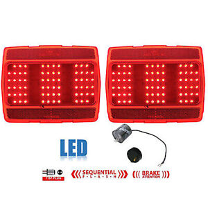 64 65 66 Ford Mustang Red Led Sequential Tail Light Lamp Lenses Pair W Flasher
