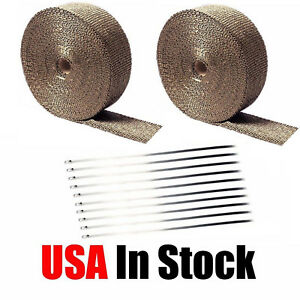 2 Roll X 2 50ft Titanium Lava Header Manifold Exhaust Heat Wrap Tape Ties Kit