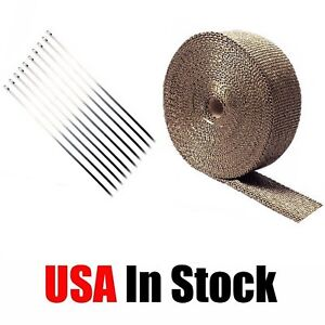 2 50ft Roll Titanium Header Manifold Exhaust Heat Pipe Wrap Tape 10 Ties Kit