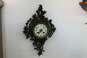 Antique Old Big Massive Charming Wooden French Bronze Carnal Wall Clock
