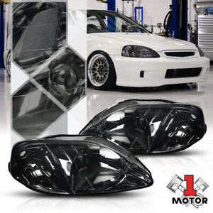 Smoke Tinted Headlight Clear Corner Turn Signal Reflector For 99 00 Honda Civic