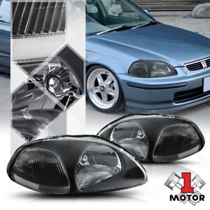 Black Housing Headlight Clear Corner Turn Signal Reflector For 96 98 Honda Civic