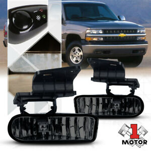Smoke Tinted Fog Light Bumper Lamps W switch harness For 99 02 Chevy Silverado