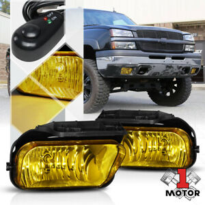 Golden Yellow Fog Light Bumper Lamps W switch harness For 03 06 Chevy Silverado