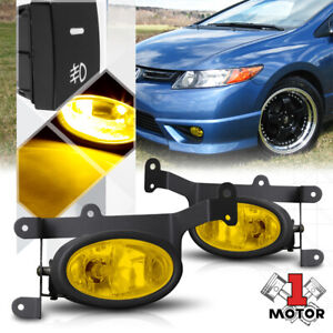Golden Yellow Fog Light Bumper Lamp W switch harness For 06 08 Honda Civic Coupe
