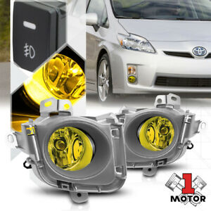 Yellow Lens Fog Light Bumper Lamps W switch harness bezel For 10 12 Toyota Prius