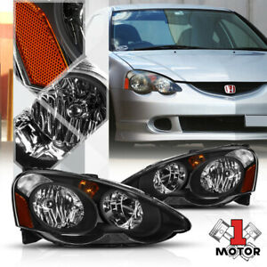 Black Housing Clear Lens Headlight Amber Signal Reflector For 02 04 Acura Rsx
