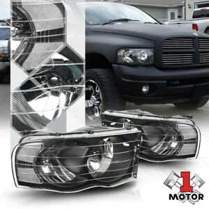 Black Housing Headlight Clear Signal Reflector For 02 05 Dodge Ram 1500 2500